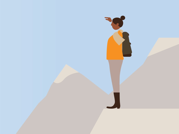 An illustration of a woman standing in a mountain range.