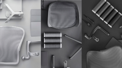 Overhead view of individual components from Aeron office chairs.