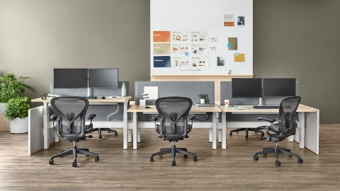 Three sit-to-stand desks in a benching configuration, each with a black Aeron office chair.
