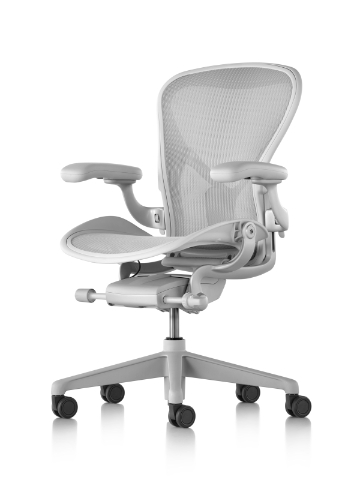 Angled view of a light grey Aeron office chair.