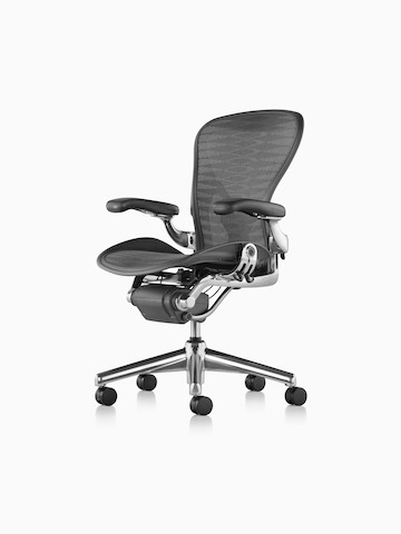 A black Aeron office chair, viewed from a 45-degree angle.