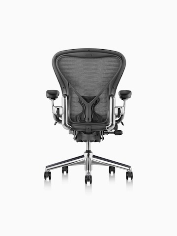 A black Aeron office chair, viewed from the rear.