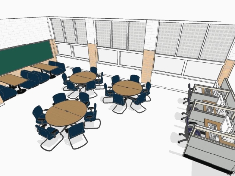 A rendering of a multipurpose space for Cody High School in Detroit.