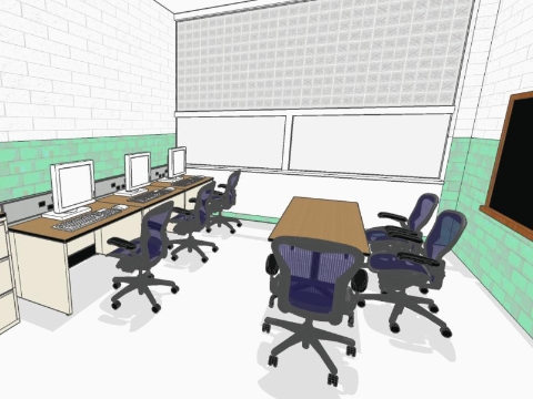 A rendering of a computer lab at Cody High School in Detroit.