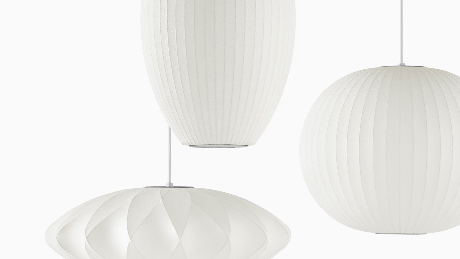 Drie ophangende Nelson Bubble Lamps.