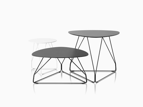 Three Polygon Wire Tables of different sizes and shapes.