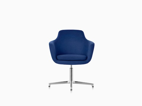 A blue Saiba mid-back lounge chair, viewed from the front.