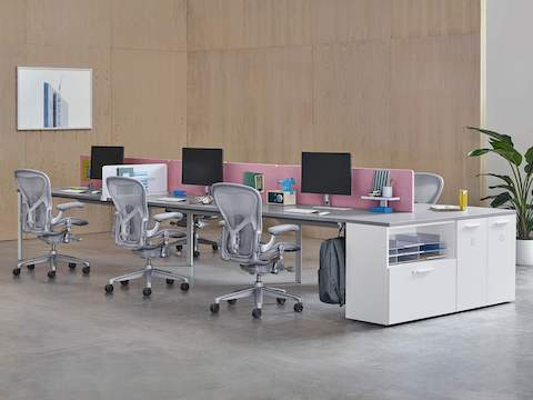 Light gray Aeron office chairs complement a back-to-back benching setup divided by pink privacy screens.