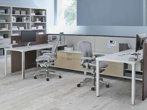 Two light gray Aeron ergonomic office chairs in a shared Canvas Office Landscape workspace with bookshelves nearby.