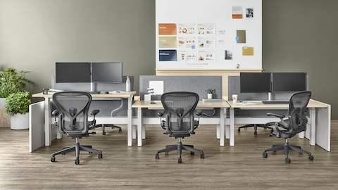 Black Aeron office chairs in a Canvas Office Landscape benching work environment.