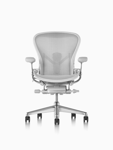 Light gray Aeron office chair, viewed from the front.