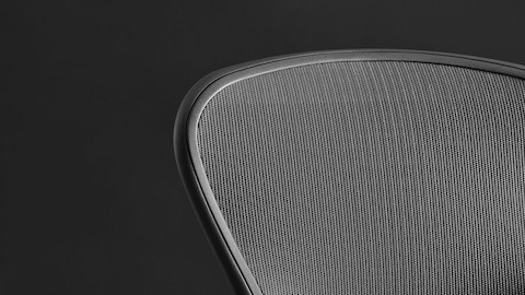 Close-up of the mesh Pellicle suspension on the back of a black Aeron office chair.