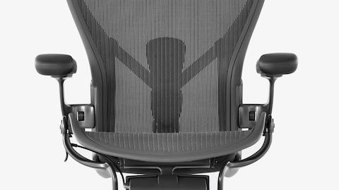The Pellicle mesh seat and back on a black Aeron office chair.