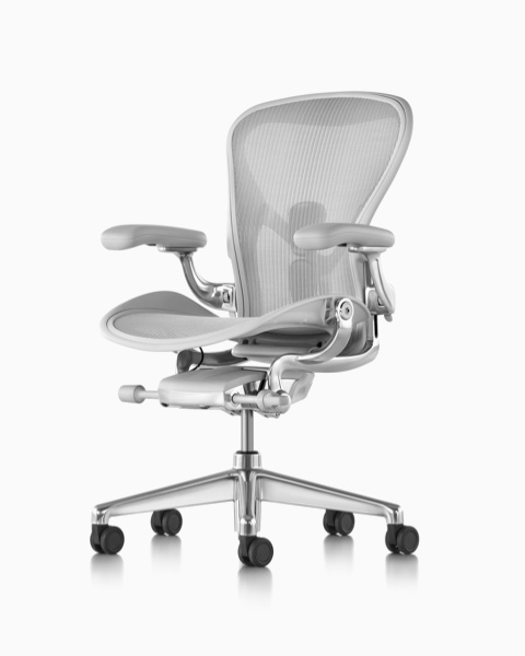 Aeron Chair with Mineral finish on seat, back, and arms. Polished aluminum base.