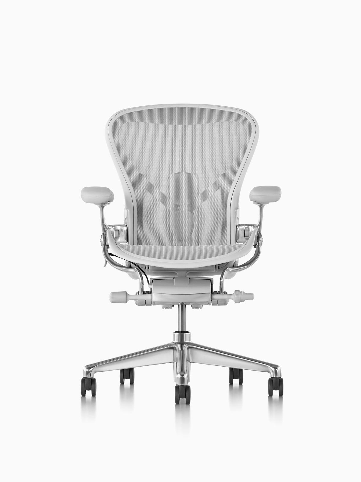 A light gray Aeron Chair.