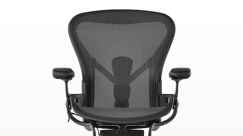 Front view of black Aeron office chair, showing mesh back and seat.