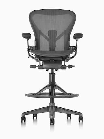 Black Aeron Stool, viewed from the front.