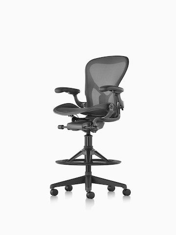A black Aeron Stool. Select to go to the Aeron Stool product page.
