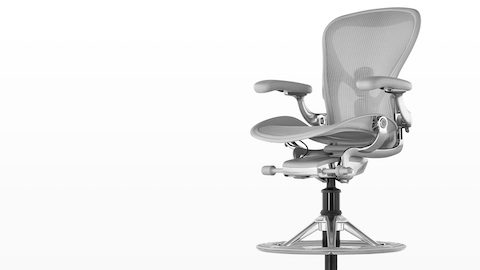 Light gray Aeron Stool, viewed from a 45-degree angle.