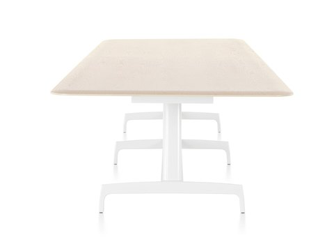 A rectangular AGL table with a light veneer top and white aluminum base, viewed from the narrow end.