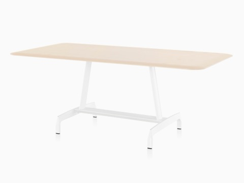 Oblique view of a rectangular AGL table with a light veneer top and white aluminum base.