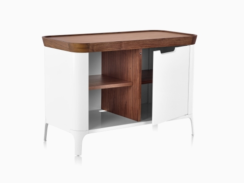 White Airia Desk and Media Cabinet from Herman Miller, with dark trim, modern media cabinet, open with shelves.