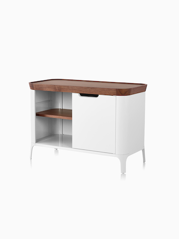 A white Airia Media Cabinet with a wood top. Select to go to the Airia Desk and Media Cabinet product page.