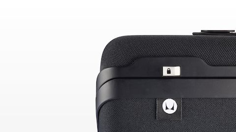 Close-up of the locking switch on a closed Anywhere Case.