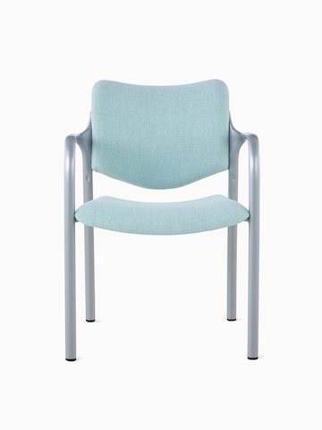 An Aside Chair with light green upholstered seat and back, viewed from the front.