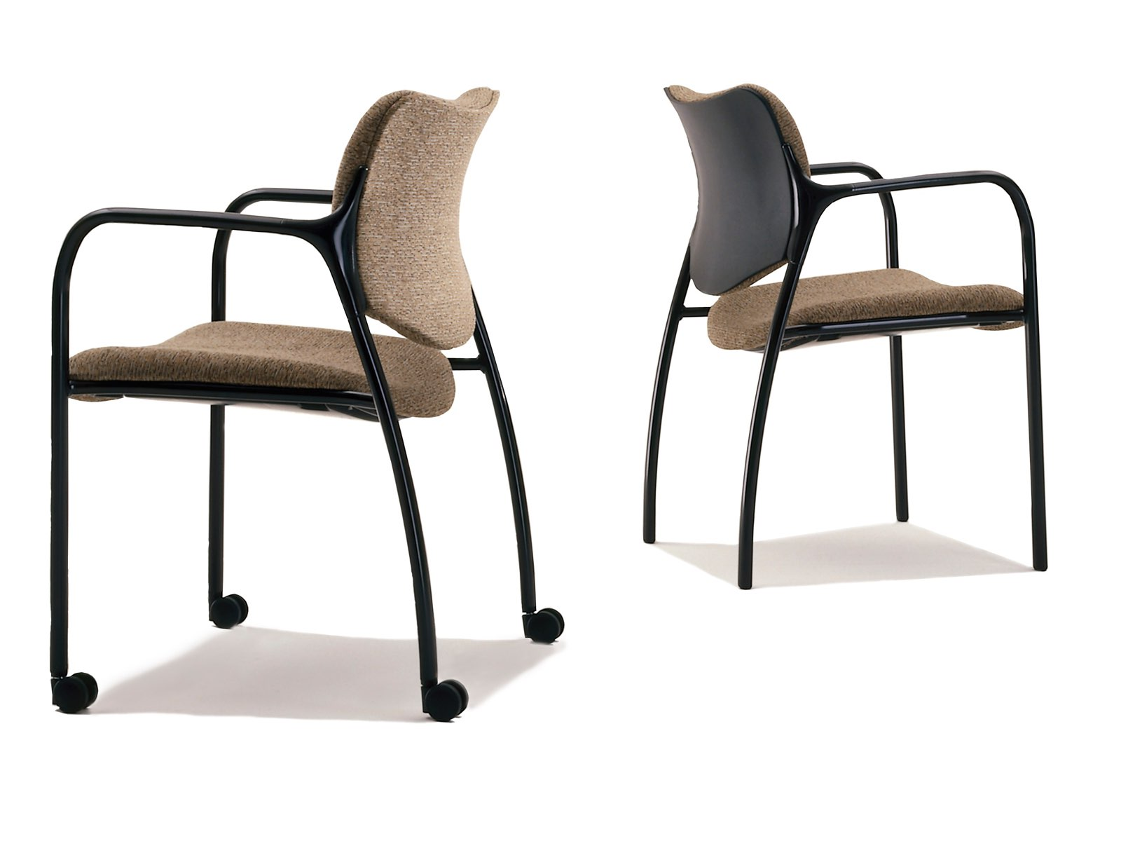 Two versions of a brown Aside Chair, one with casters and full upholstery and one with a partially upholstered back.