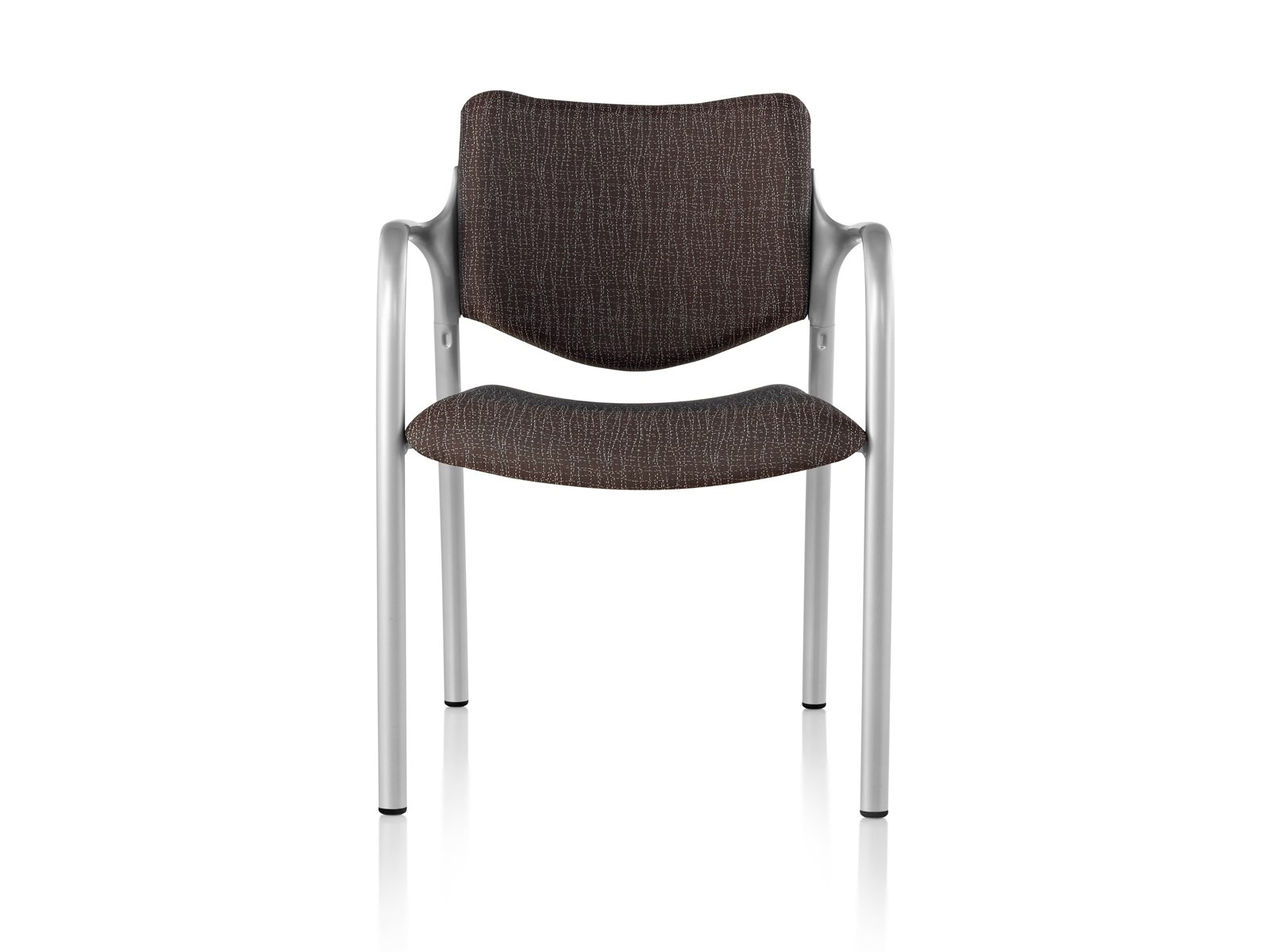Brown Aside Chair with silver arms, viewed from the front.