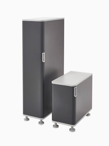 Two Atlas Storage units in black with white tops.