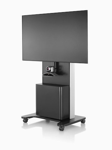 Front view of a black AV/VC One technology cart with a webcam and large digital display.
