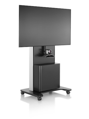 An AV/VC black technology cart with large monitor and webcam, viewed from an angle.