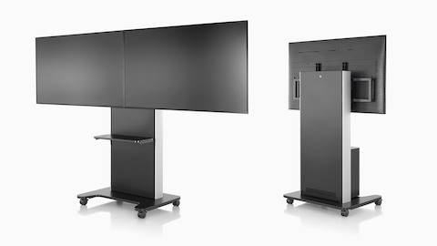 Two AV/VC black technology carts, one viewed from the front with two monitors and the other with one monitor, viewed from behind.