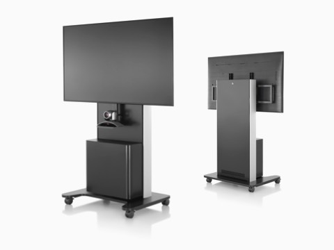 Two black AV/VC One technology carts with large digital displays and webcams, one facing forward and the other facing backward.