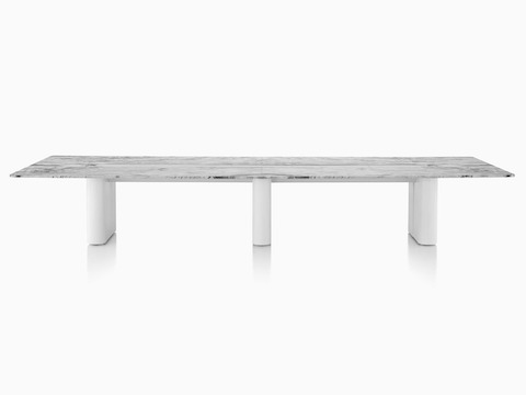 Axon Table with Georgia Grey Marble, viewed from the front.