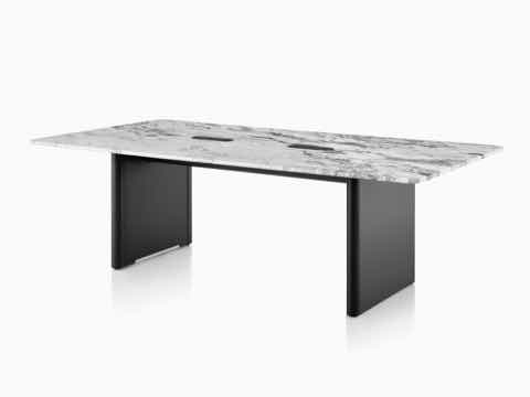 An Axon Conference Table featuring a Georgia Grey Marble top.