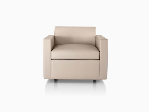 Tan Bevel Sofa Group Club Chair, viewed from the front.