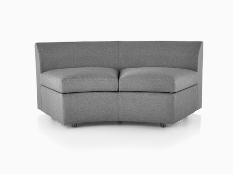 Curved gray Bevel Sofa Group Settee without arms, viewed from the front.