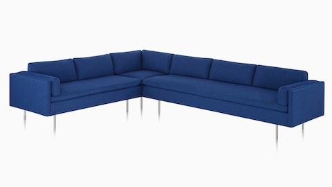 Blue Bolster Sofa Group Sofa With Corner Unit, Viewed From The Front.
