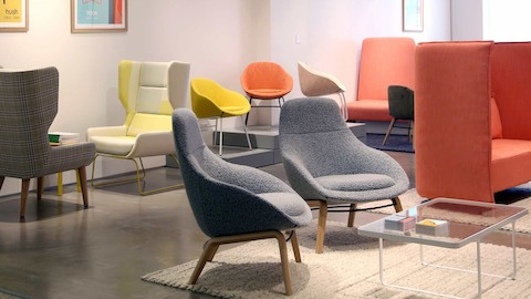 A collection of naughtone seating products in various colors.