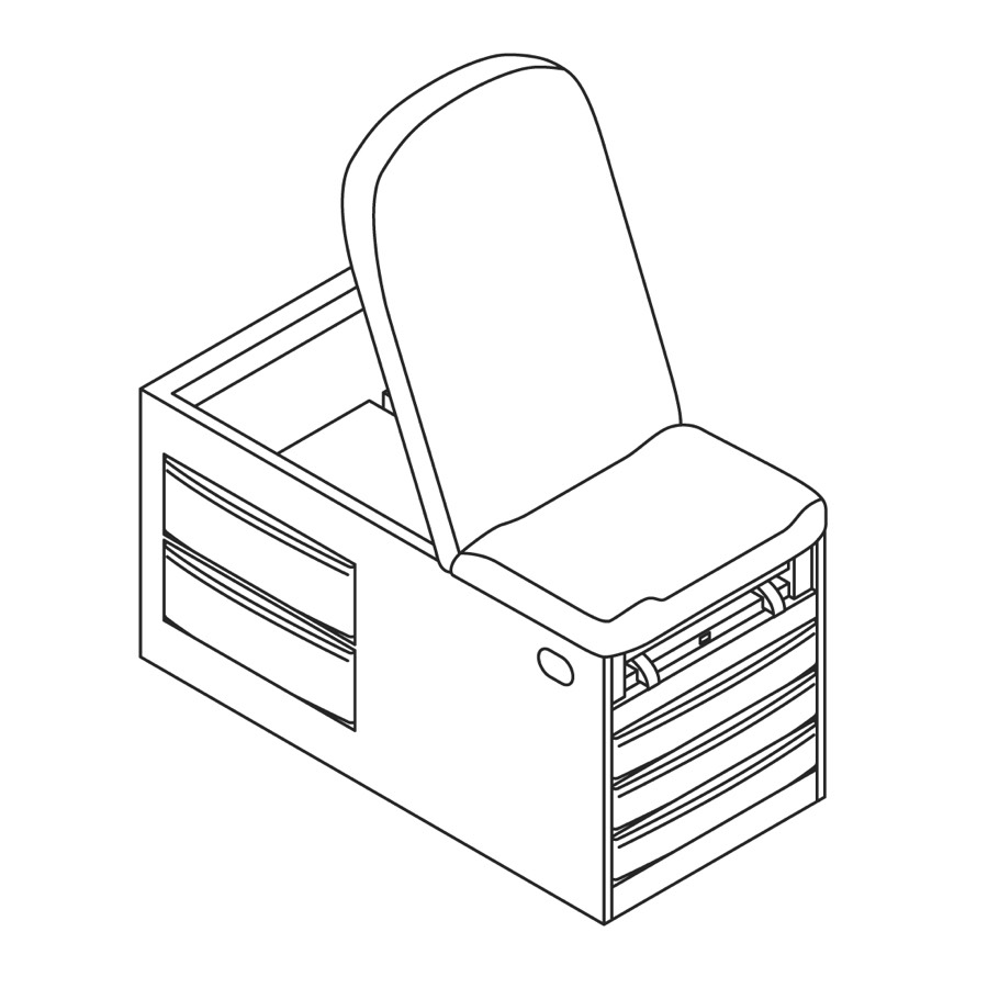 A line drawing of Basic Exam Table