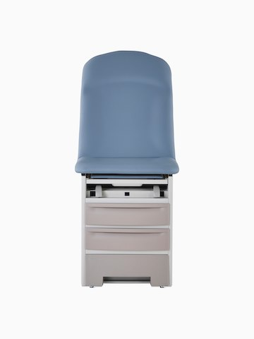 Front view of an exam table with a blue upholstered back and seat with a taupe metal base.