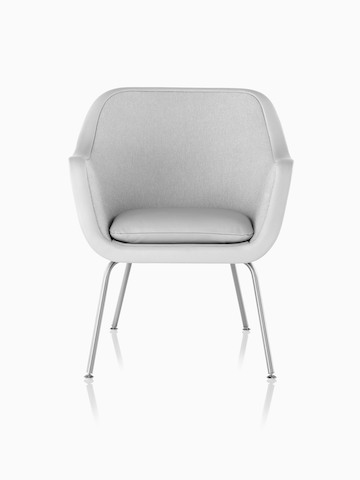 Four-leg Bumper Chair in light gray fabric, viewed from the front.