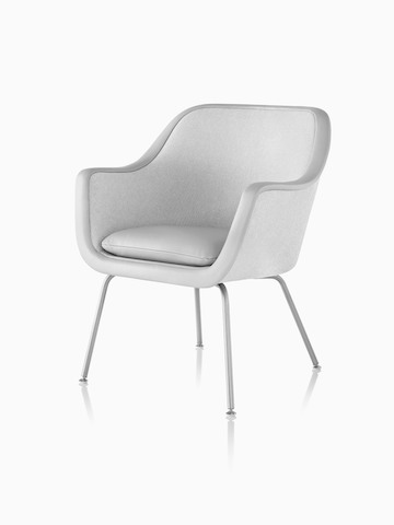 Four-leg Bumper Chair in light gray fabric, viewed from a 45-degree angle.