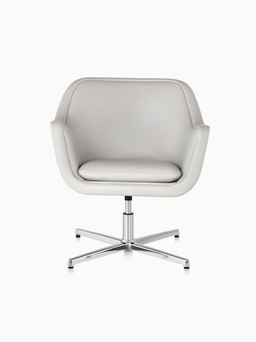 White leather Bumper Chair with a four-star base, viewed from the front.
