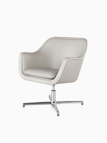 White leather Bumper Chair with a four-star base, viewed from a 45-degree angle.