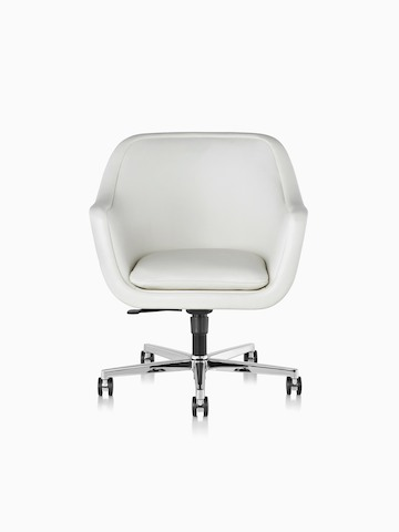 White leather Bumper Chair with a five-star base and casters, viewed from the front.