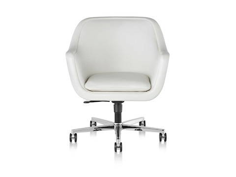 White leather Bumper Chair with a five-star base, viewed from the front and showing the nearly seam-free design.
